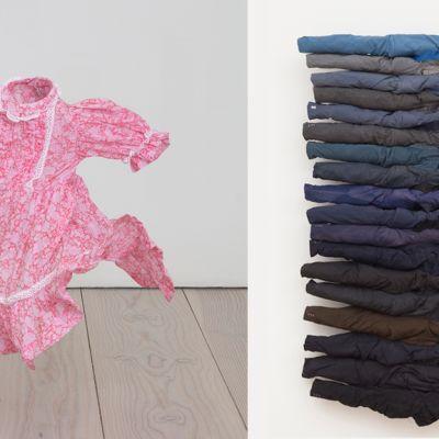Kuvayhdistelmä Kaarina Kaikkosen teoksista Älä jätä minua / Don't leave me, 2013, sekä Olotiloja / Whereabouts, 2014.