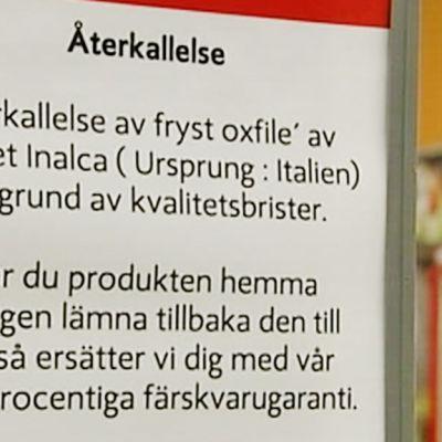 Asiakastiedote liittyen häränlihana myytyyn vesipuhveliin Ruotsissa.