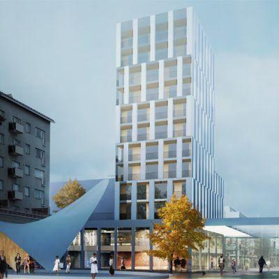 Kouvolan kävelykatu Manskin arkkitehtuurikilpailun voitti työ nimeltä Lasipalatsi