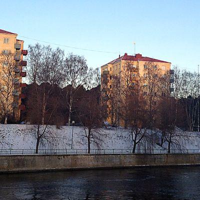 Kolme kerrostaloa Oulussa Tuiran kaupunginosassa.