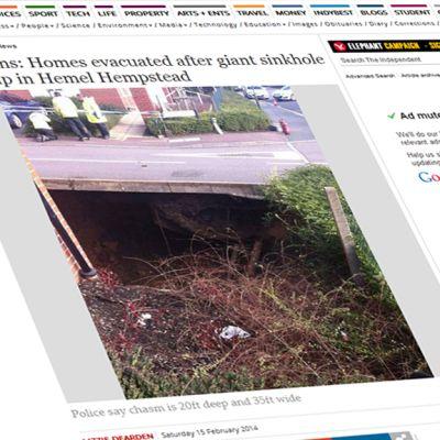 Kuvakaappaus Independent.co.uk:n nettisivulta jutusta, joka käsittelee Hemel Hempsteadin maanvajoamaa.