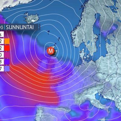 Havainnekuva säästä Euroopan yllä.