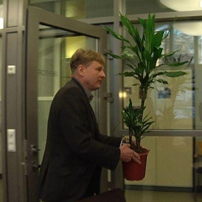 Kerttulin lukion rehtori Tapio Laine kantaa viherkasvia.