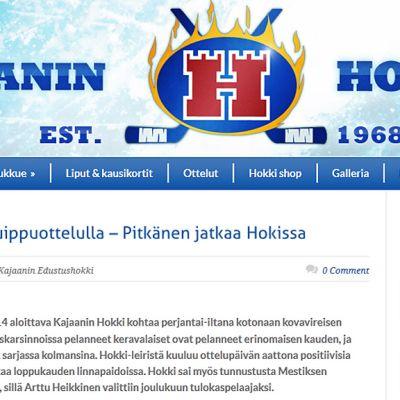Kajaanin Hokin nettisivukaappaus.