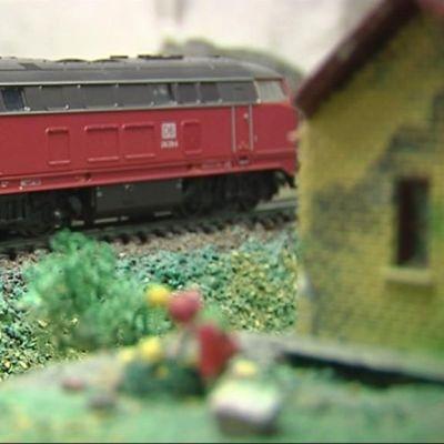 Juna pienoisrautatiellä.