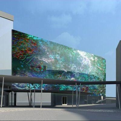 Havainnekuva Kuopion yliopistollisen sairaalan lasiseinätaideteoksesta