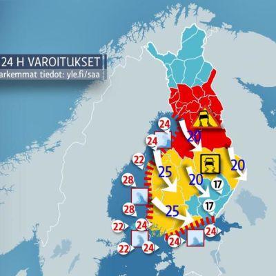 Seija-myrskyä kuvaava kartta