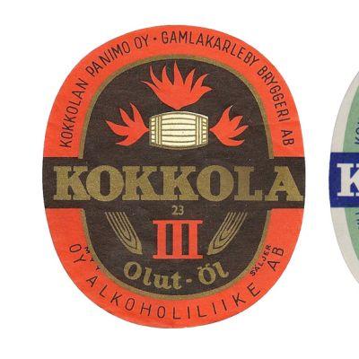 Kuvassa Kokkolan olutpanimon etikettejä.