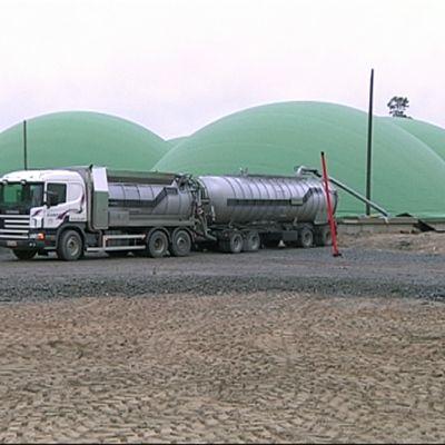 Säiliöauto biokaasuvoimalan kupujen edustalla.