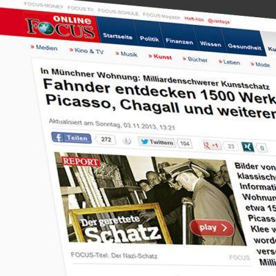 Kuvakaappaus Focus-lehden nettisivuilta jutusta, joka käsittelee Münchenin taidetakavarikkoa.