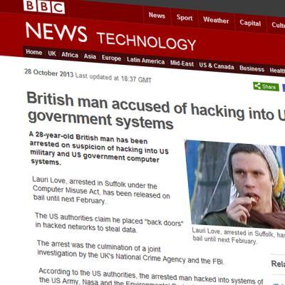 Kuvakaappaus BBC:n nettisivuilta jutusta, joka käsittelee tietomurtoa.