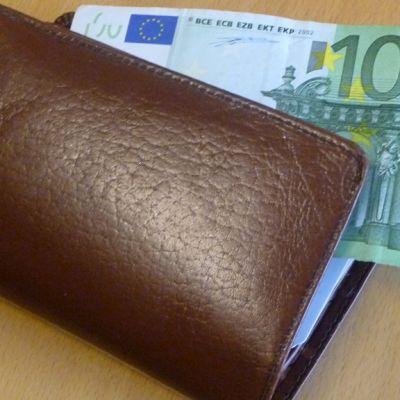 Kuvassa lompakko ja 100 euron seteli