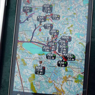 GPS-seurantalaitteen näkymä.