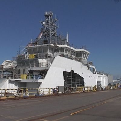 Merivartioalus Turva kastettiin STX:n Rauman-telakalla 2.8.2013