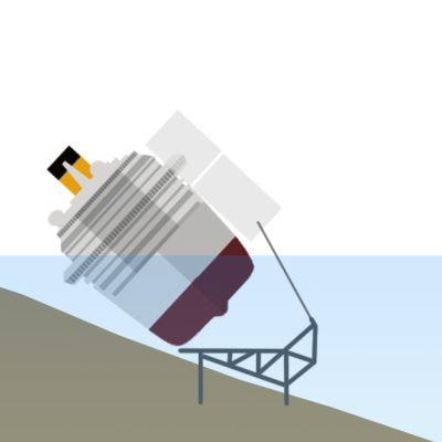 Kuva animaatiosta, joka kuvaa Costa Concordian nostoyritystä.