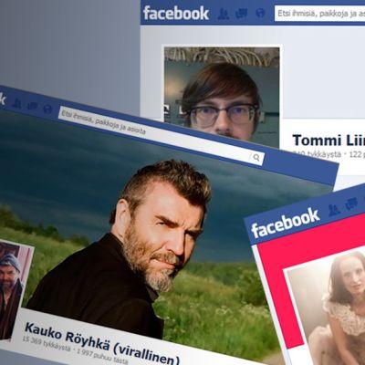 Kooste taiteilijoiden Facebook-sivuista