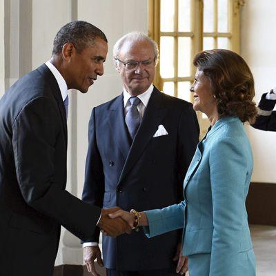 Barack Obama Ruotsin kuningas Kaarle Kustaa ja Silvia.