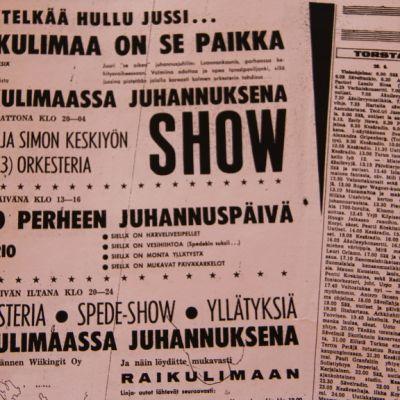 Raikulimaan Juhannuksen lehtimainos 1968