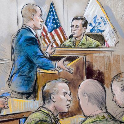 Taiteilijan näkemys Bradley Manningin oikeudenkäynnistä.