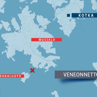 Kotkan veneonnettomuus sattui Mussalon ja Vehkaluodon välissä