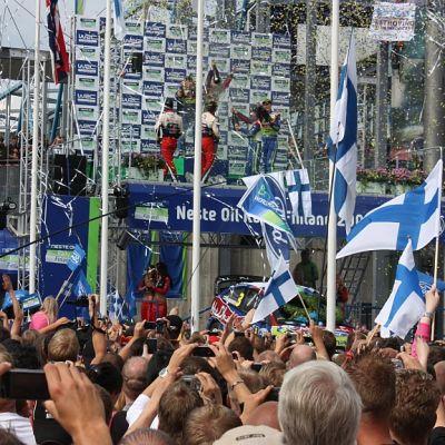 Jyväskylän MM-rallin palkintojuhla.