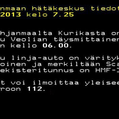 Pohjanmaan hätäkeskus tiedottaa Ylen Teksti-tv:n sivulla.