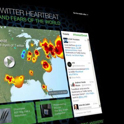 Kuvarevinnäinen SGI:n Global Twitter Heartbeat -sivustosta.