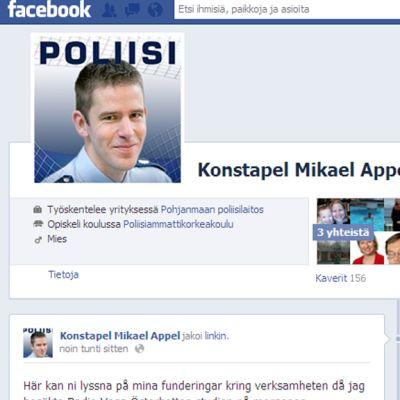 Konstapel Mikael Appel facebookissa