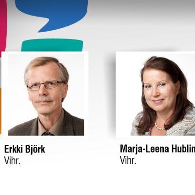 Vihreiden Erkki Björk ja Marja-Leena Hublin