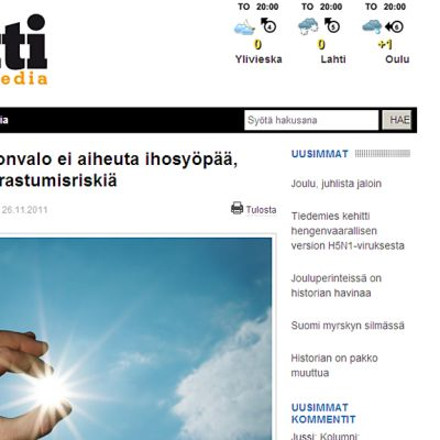 Kuvassa kuvakaappaus Magneetti-media - lehden sivusta
