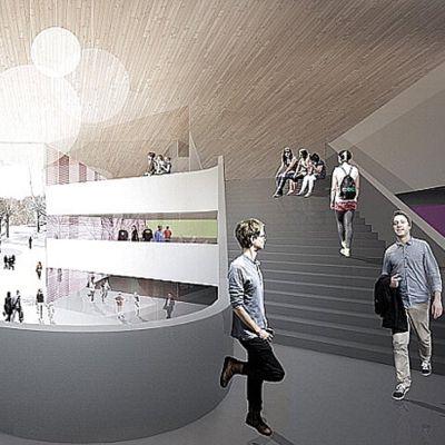 Havainnekuva Hirvensalon koulun arkkitehtikilpailun voittajatyöstä.