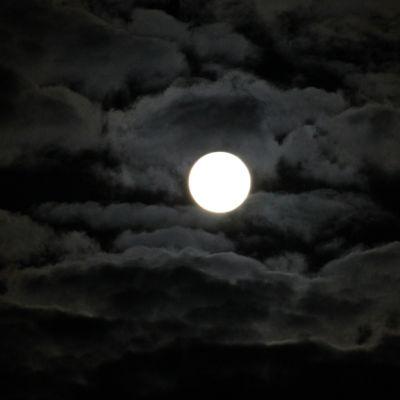 Täysikuu mustalla taivaalla.