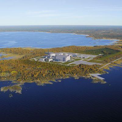 Havainnekuva ydinvoimalan sijoittumisesta Pyhäjoelle.
