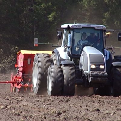 Tractor sowing seeds