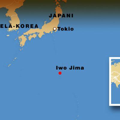 Kartta Iwo Jiman sijaiinnista.