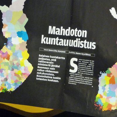 Kuntauudistuskartta Suomen Kuvalehdessä.