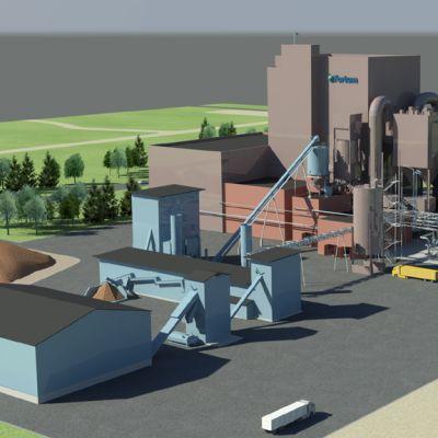 Havainnekuva, johon merkitty voimalaitosalueelle rakennettava pyrolyysiöljylaitos.