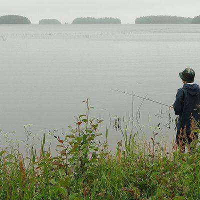 Kuvassa poika kalastamassa järven rannalla