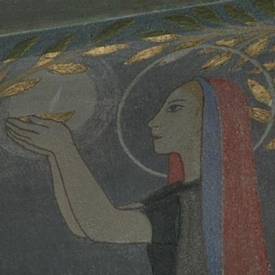 Yksityiskohta Tove Janssonin Teuvan kirkkoon maalaamasta alttaritaulusta.