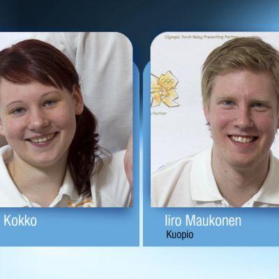 Itäsuomalaiset olympiasoihdun kantajat Mirva Kokko ja Iiro Maukonen.