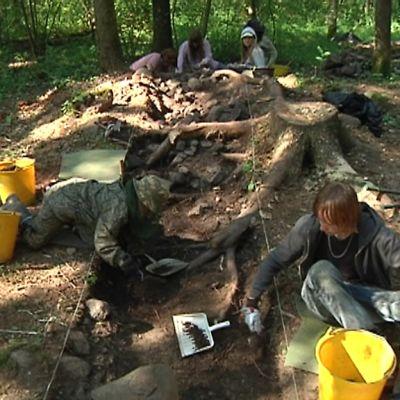 Kuvassa yleisöä kaivamassa esiin arkeologista aineistoa Kruunupyyn entisen spitaalihospitaalin paikalla