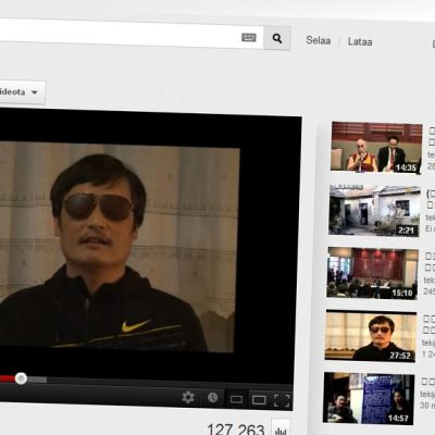 Chen Guangcheng puhuu videolla You Tube verkkopalvelussa.