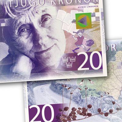 Syksyllä 2015 käyttöön otettavassa uudessa 20 kruunun setelissä poseeraa kirjailija Astrid Lindgren yhdessä tunnetuimman hahmonsa Peppi Pitkätossun kanssa.
