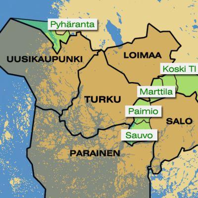 Kartta kuntajakoselvityksessä ehdotetuista kunnista (vaihtoehto 1).