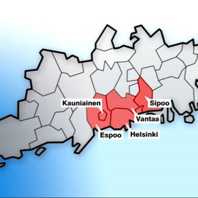 Kartta pääkaupunkiseudun kaupungeista.