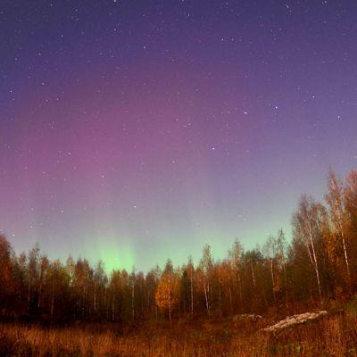 Draconidien tähyilyä Rautalammilla. Tähdenlentojen lisäksi taivasta värittivät revontulet.