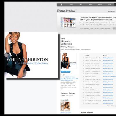 """Houstonin kokoelma-albumi """"The Ultimate collection"""" iTunes-sivustolla."""