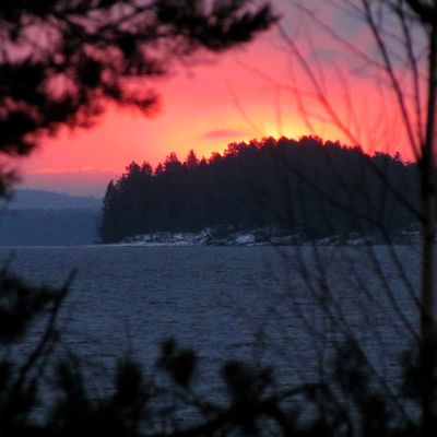 Vaarapahtaan saari Pielisellä talvipäivänseisauksena.