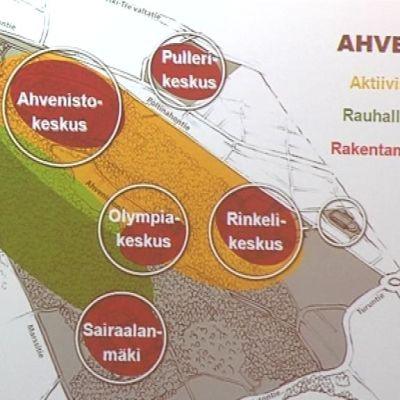 Ahvenistovision kaaviokuva aktiivisista, rauhallisista ja rakentamisen alueista
