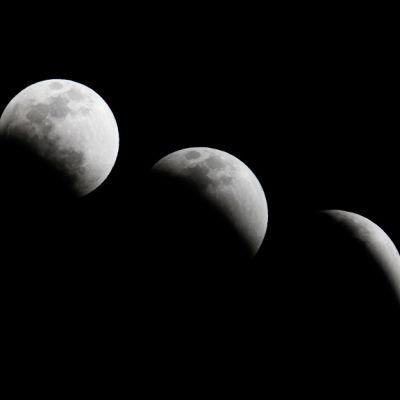 Kuu viidessä eri vaiheessa matkalla kuunpimennykseen 10.12.2011
